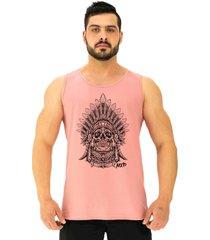 regata clã¡ssica masculina alto conceito caveira cacique rosa beb㪠- rosa - masculino - algodã£o - dafiti