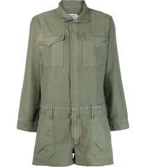 frame zipped-up playsuit - green