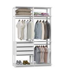 closet com 3 gavetas e 3 cabideiros branco lilies móveis