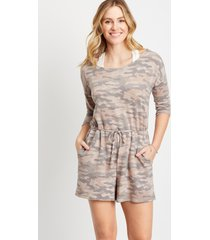 maurices womens 24/7 camo french terry romper gray