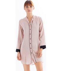 pijama tipo camisón en viscosa ref 15150. color rosa palido estampado puntos