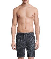 hurley men's print volley swim shorts - black - size xl