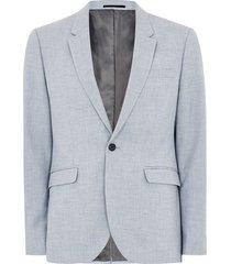 mens stone light blue textured skinny suit jacket