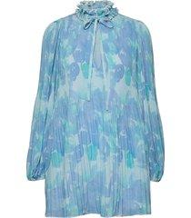 pleated georgette korte jurk blauw ganni