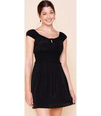 women's anastasia smocked mini dress in black by francesca's - size: l