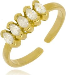 anel ajustável navetes cristais di capri semi jóias x ouro  dourado