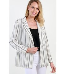 blazer de rayas blanco lino night concept