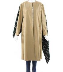 rosie assoulin 2019 plaid shawl coat brown/green sz: s