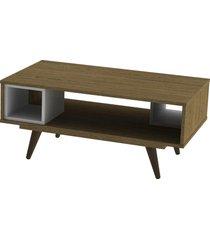 mesa centro retrã´ 45 rustik carvalho e branco olivar - marrom - dafiti