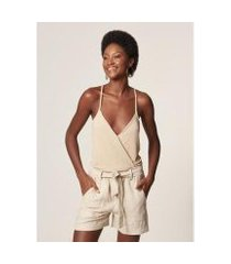 body mob transpassado regata lurex cream feminino