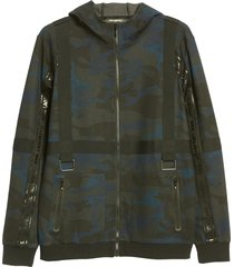 men's karl lagerfeld paris camo track hoodie, size medium - blue