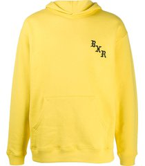 bornxraised embroidered logo relaxed-fit hoodie - yellow