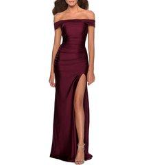 women's la femme off the shoulder satin trumpet gown, size 10 - burgundy