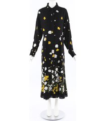 andrew gn black floral print silk maxi dress black/floral print sz: l