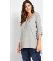 2-in-1 longsleeve met blouse-inzet achter