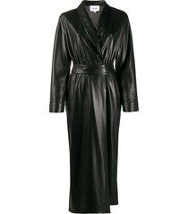 nanushka longline wrap dress - black