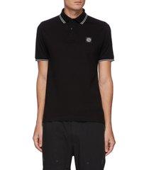 logo patch contrast trim cotton pique polo shirt