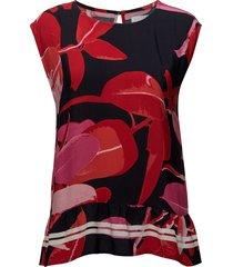 moss crepe top w. branch print & st blouses short-sleeved rood coster copenhagen