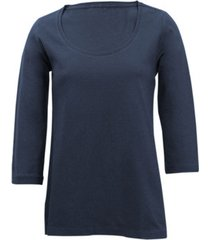 shirt met ronde hals voor haar, marineblauw 42