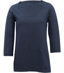 shirt met ronde hals voor haar, marineblauw 46