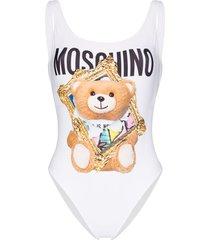 moschino picture frame teddy bear print swimsuit - white