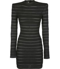 balmain black viscose blend mini dress