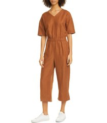 women's eileen fisher v-neck jumpsuit, size large - brown
