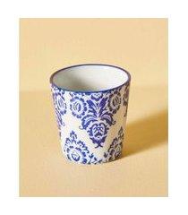 vaso de cerâmica estampada cor: azul - tamanho: único