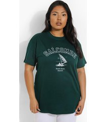 plus salcombe t-shirt, bottle green