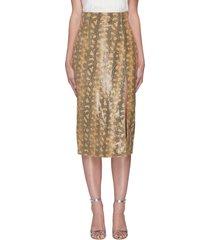 fonda snake print nappa leather midaxi skirt