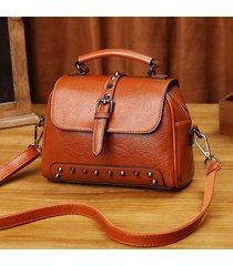 borsa a tracolla da donna in ecopelle rivetto vintage solido olio cera incrociata borsa