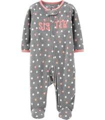 carter's baby girl sister zip-up fleece sleep & play