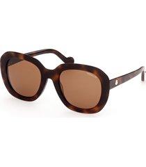women's moncler core 52mm round sunglasses - classic havana/ brown