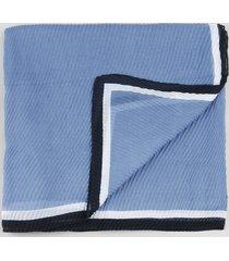lenço feminino plissado com listras azul