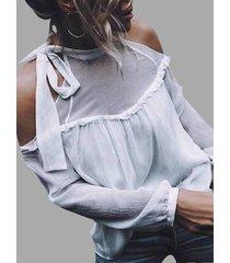 gasa blanca cinturón cuello blusas de costura con volantes y hombros descubiertos