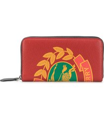 burberry crest print leather ziparound wallet - red