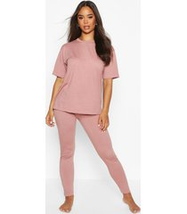 basic zachte jersey pyjama set met t-shirt en leggings, blush