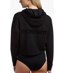 y/osemite cropped flocked hoodie