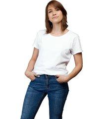 camiseta blanca luck & load cuello redondo mujer