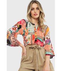 blusa wados arrugada manga larga cobre - calce holgado