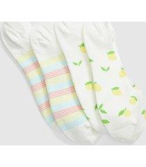 lane bryant women's 2-pack no-show socks - lemons & stripes onesz pantone golden haze