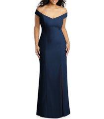plus size women's dessy collection off the shoulder crossback gown, size 18 - blue