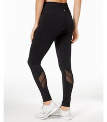 ideology mesh-trimmed leggings, created for macy's
