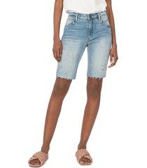women's kut from the kloth sophie distressed denim bermuda shorts, size 14 - blue