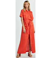 vestido de linho camisão laranja pierre laranja pierre - 38