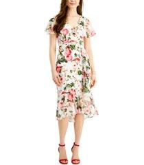 adrianna papell rose magnolia flutter dress