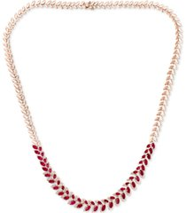"effy ruby (8-1/2 ct. t.w.) & diamond (1/2 ct. t.w.) marquise 16"" statement necklace in 14k rose gold"