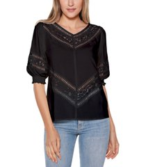 belldini black label blouson sleeve v-neck top with lace