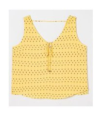 blusa regata estampa gotinhas com amarração | a-collection | amarelo | gg