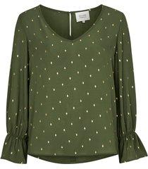 blus leaf foil blouse